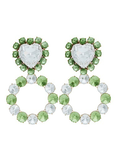 Ninon Queen of Hearts Grass Green Kristal Küpe Yeşil